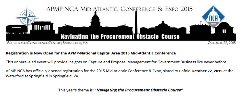 APMP-NCA Mid-Atlantic Conference (featured Speaker) October 22, 2015